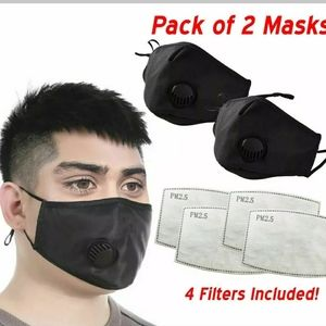 2- Outdoor Face Masks with Valve + (4) Filters